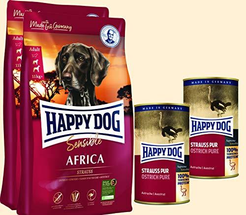 Happy Dog 25 kg Supreme Africa 2 x 12,5 kg und 2 x 400 gr. Pur Dose Strauß *Gratis* - *Sommeraktion*