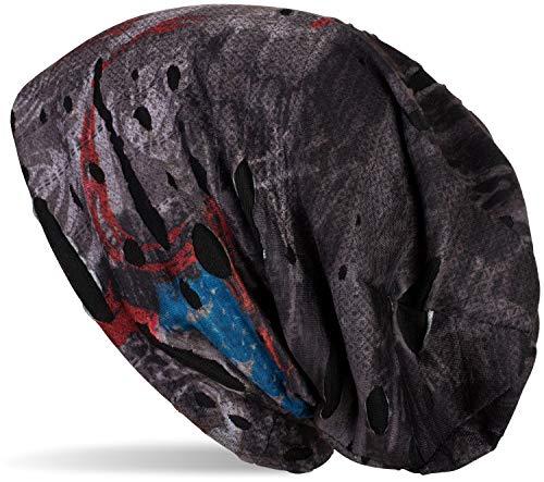 styleBREAKER Beanie Mütze im Splat Style mit Klecksen und Zeichen im Destroyed Vintage Look, Slouch Longbeanie, Unisex 04024077, Farbe:Schwarz-Grau-Rot-Blau