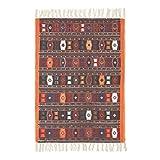 Homescapes Kelim-Teppich, handgewebt aus Baumwolle, 70 x 120 cm, bunter Baumwollteppich mit geometrischem Muster und Fransen - 3