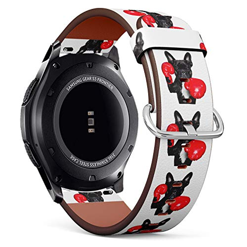 Funny Boxing French Bulldog - Patterned Leather Wristband Strap Compatible with Samsung Gear S3 Frontier