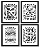 Motivational Inspirational Quotes Art Prints 4 Pack | Set of Four Photos 8x10 Unframed | Classroom Office Home Wall Art - Inspire Teen Boy Girl Fitness Success Workout Sports Gym Hard Work Decor