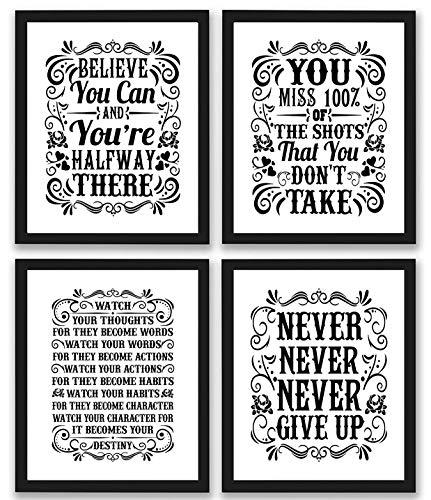Motivational Inspirational Quotes Art Prints 4 Pack | Set of Four Photos...