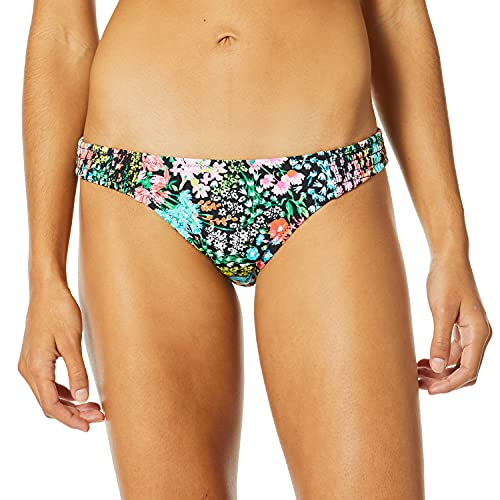 COCO RAVE Women's Standard Bikini Bottom Swimsuit with Side Smocking, Merci Bouquet Jet Black, Medium