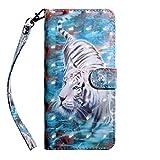 Hnzxy Kompatibel mit Nokia 2.2 2019 hülle Leder Tasche Handyhülle Bunt Glitzer PU Leder hülle Schutzhülle Flip Hülle Tasche Magnetic Lederhülle Etui Handytasche für Nokia 2.2 2019,Weiß Tiger