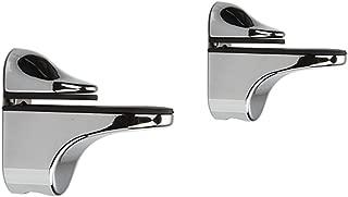 Adjustable Wood/Glass Shelf Bracket Wall Mount, Polished Chrome, 2 Pack