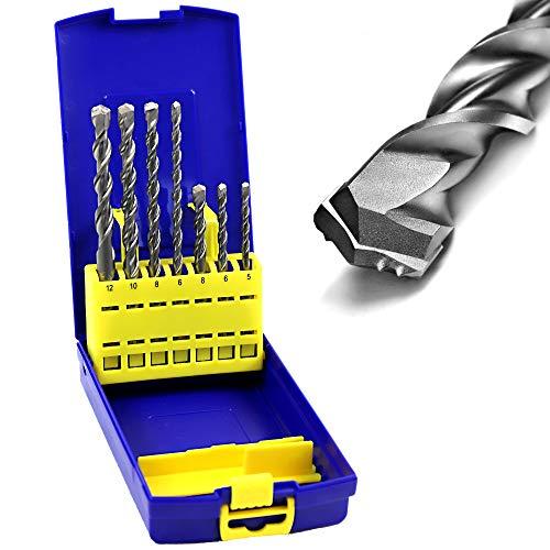 S&R Professional Hammerbohrer Set, Bohrer SDS Plus für Beton, Granit, Stein. Bohrer für Bohrhammer. MADE IN GERMANY, 7-tlg.: Ø 5/6/8/6/8/10/12 mm