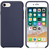 Funda de Silicona Silicone Case para iPhone SE 2020, iPhone 7, iPhone 8, Tacto Sedoso Suave, Carcasa Anti Golpes, Bumper, Forro de Microfibra (Azul Noche)