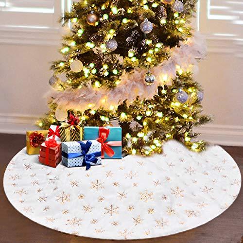 Upgrow Weihnachtsbaumdecke, Weihnachtsbaum Rock Plüsche Weiche Decke, Teppich für Weihnachtsfeiertag Dekorationen, Weihnachtsbaumrock Christmas Tree Decorations (Gold-90cm)