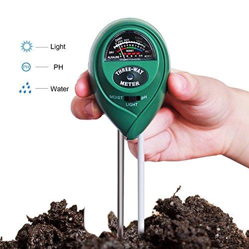 Kit tester per piante con misuratore 3 in 1 del pH, dell'umidità con luce e dell'acidità del terreno per giardinaggio e coltivazione