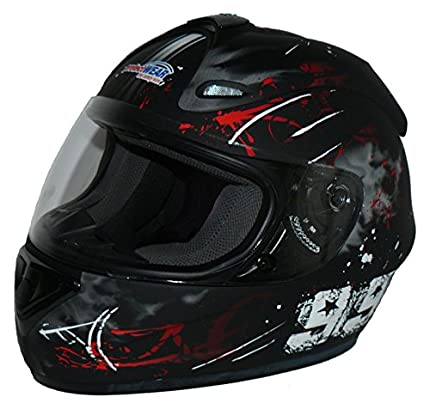 Protectwear Casco de moto negro-rojo 99 FS-801-99R Tamaño L