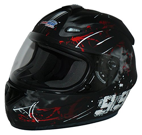 Protectwear Motorradhelm FS-801, Design 99R, Schwarz/Rot, M