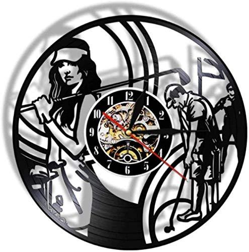 Regalo Reloj de pared de vinilo Reloj de registro Golfista Reloj vintage Reloj de cuarzo silencioso Reloj de pared Hecho a mano Regalos personalizados para niños y adultos 12 pulgadas -12 pulga