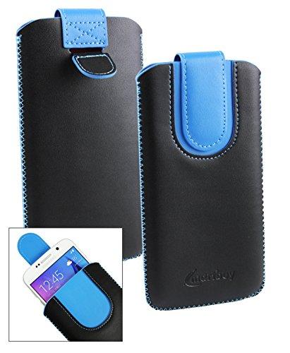 Emartbuy® Schwarz/Blau PU Leder Slide in Hülle Tasche Sleeve Halter (Größe LM2) Mit Zuglasche Mechanismus Geeignet Für Slok C3 Dual SIM Smartphone