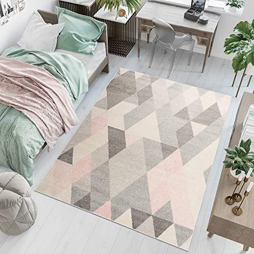 TAPISO LAZUR Teppich Wohnzimmer Kurzflor Modern Geometrisch Figuren Dreieck Grau Creme Rosa Jugendzimmer Schlafzimmer ÖKOTEX 160 x 220 cm