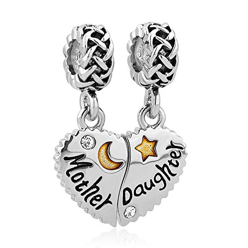 CharmSStory Heart Love Mom Mother Daughter Son Charm Dangle Beads Charms for Bracelets (Mother Daughter 01)