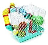 BPS 1176 Cage pour hamster avec mangeoire, abreuvoir, roue et tunnel, taille XL, 33x 23,5x 33cm