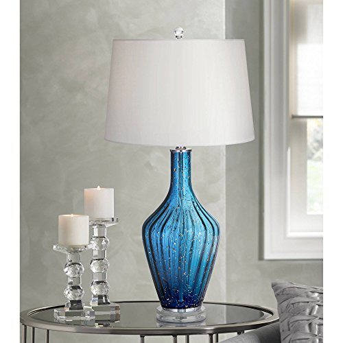 Elin Coastal Table Lamp Blue Fluted Art Glass Vase White Drum Shade for Living Room Family Bedroom Bedside - Possini Euro Design