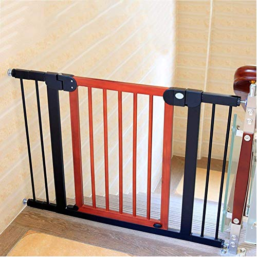 Extra Wide Walk Thru Baby Gate Wooden, Pet Safety Gate for Corridor/Doorway/Stairs, Red-Brown Color, 70cm Tall (Size : 97-104cm)
