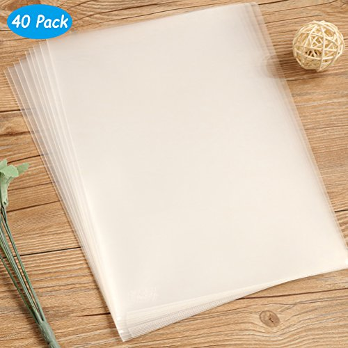 Yarachel 40PCS L-Type Plastic Folder - 18C Transparent Clear Document Folder for A4 Size Paper Sleeves