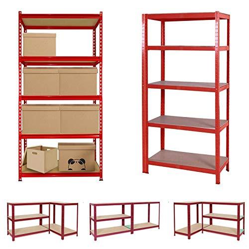 Garage Shelving Units Red 5 Tier (175KG Capacity Per Shelf), Heavy Duty Racking Shelves MDF Boards Shelf for Workshop Shed Office Home Garage Storage, 150 x 70 x 30cm
