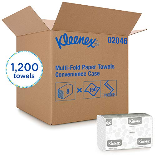 Kleenex Multifold Paper Towels 02046 White 8 Packs / Convenience Case 150 Tri Fold Paper Towels / Pack 1200 Towels / Case