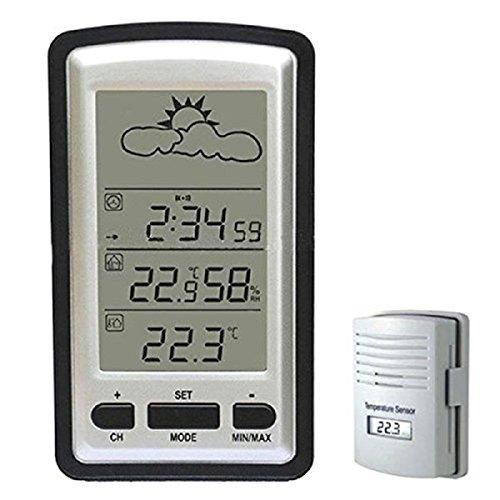 Megadream multi-funzione LCD da 10,2cm wireless Weather station- indoor e outdoor termometro digitale con igrometro e barometro e sveglia digitale & elettronico calendario e sensore remoto