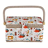 Sewing Basket,Fabric Sewing Storage and Organizer Craft Box Household Sundry Storage Organizer 10.9 x 7.1 x 5.7inch with Handle