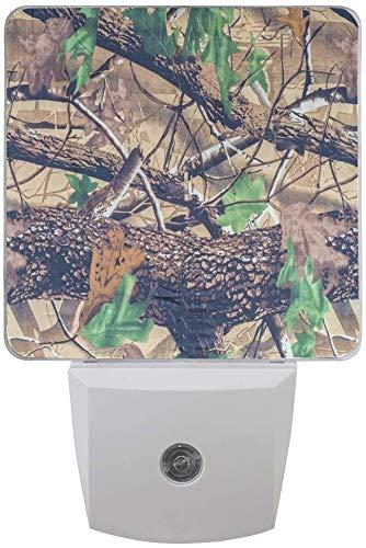 1 paquete de camuflaje militar, árbol de bosque, hojas, luz nocturna LED para atardecer al amanecer, sensor Plug In Night Home Decor lámpara de escritorio para adultos