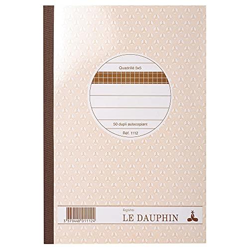 Le Dauphin 1112 - Cuadernos de papel autocopiativo (10 unidades, 50 páginas dobles, papel cuadriculado, 210 x 148 mm)