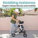 Vive Rollator Walker - Folding 4 Wheel Medical Rolling Walker with Seat & Bag - Mobility Aid for Adult, Senior, Elderly & Handicap - Aluminum Transport Chair (White) #1