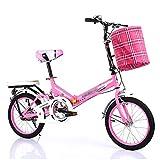 YSHCA 16 Pulgadas Plegable Bicicleta, Marco de Acero al Carbono Bicicleta Plegable Street con Estante y Cesta Bicicleta Plegable Urbana,Pink-B