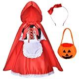 Little Red Riding Hood Dress Christmas Cosplay Costumes for Girls With Cloak,Headband,Bag 11-12 years(150cm)