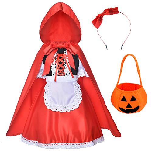 Little Red Riding Hood Dress Christmas Cosplay Costumes for Girls With Cloak,Headband,Bag 9-10 years(140cm)