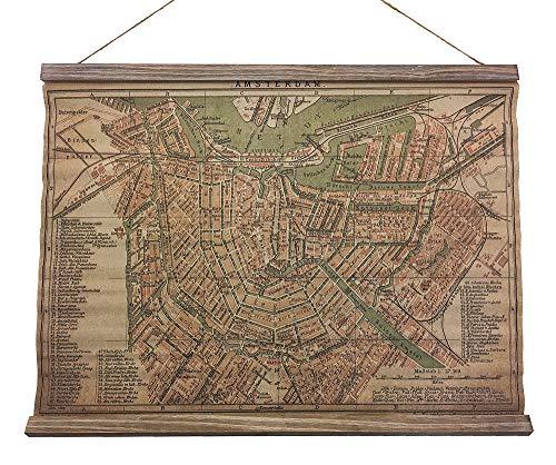 Schulwandkarte Historischer Stadtplan Amsterdam Wandbild Nostalgie Leinwand 54x70cm