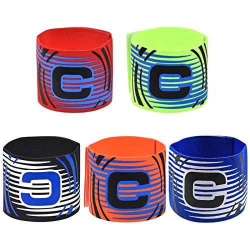 Netspower Capitán Brazalete Fútbol, 5 Colores Elástico Fútbol Brazalete, Ajustable Brazalete de Capitán y Velcro para Adultos y Niños