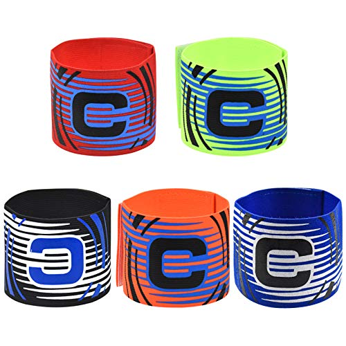 Capitán Brazalete Fútbol, 5 Colores Elástico Fútbol Brazalete, Ajustable Brazalete de Capitán y Velcro para Adultos y Niños