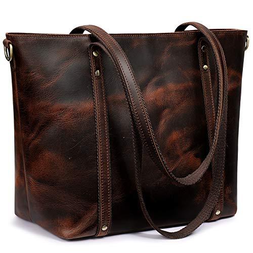 S-ZONE Bolso de mano de cuero genuino para mujer, bolso vintage con correa cruzada, marr�n (Café Oscuro), Large