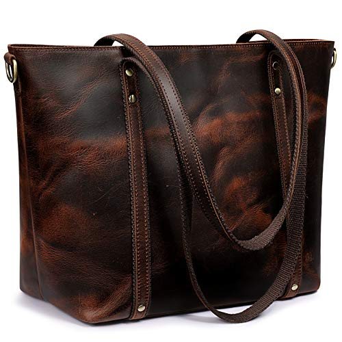 S-ZONE Genuine Leather Tote Bag for Women Vintage Handbag Purse with Crossbody Strap