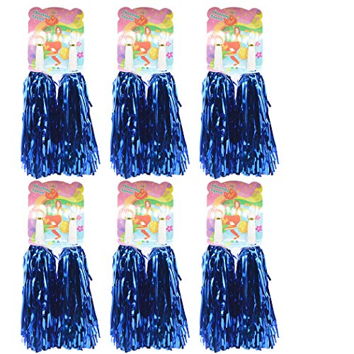 Creatiee 1 Dozen Premium Cheerleading Pom Poms, 12Pcs Hand Flowers Cheerleader Pompoms for Sports Cheers Ball Dance Fancy Dress Night Party (Blue) …