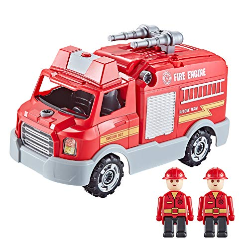 Think Gizmos Feuerwehr Spielzeug TG807 – Feuerwehrauto mit Sirene und Licht aus 32 Einzelteilen – Spiel-zeugauto ab 3 Jahren zum Selber Bauen mit Schraubenzieher und Eelektronischer Bohrmaschine
