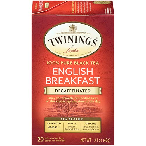 Twinings of London Decaffeinated English Breakfast Tea 20 Count Pack of 6