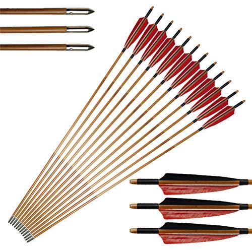 GSERA 12 Piezas 33 Pulgadas de Flechas de Bambú de Tiro con Arco para Arco Recurvo Tradicional Arco Largo Caza Práctica de Tiro con Punta de Pluma