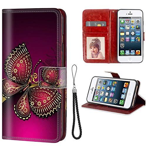 FAUNOW Funda para iPhone 5/5S/SE Funda tipo cartera con tapa para mujeres y niñas de piel de primera calidad con hermoso
