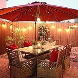 Abba Patio 11 ft Solar Lights Patio Offset Hanging Umbrella Cantilever Umbrella with Easy Tilt & Cross Base for Garden, Deck, Backyard, Pool, Beige
