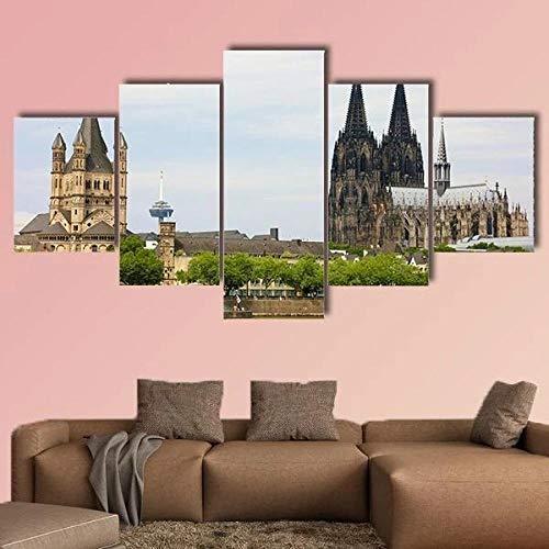 QQQAA Cuadros Modernos Impresión de Imagen Artística Digitalizada Lienzo Decorativo para Tu Salón o Dormitorio Catedral de Colonia y la Iglesia de San Martín XXL 5 Piezas (150x80cm)