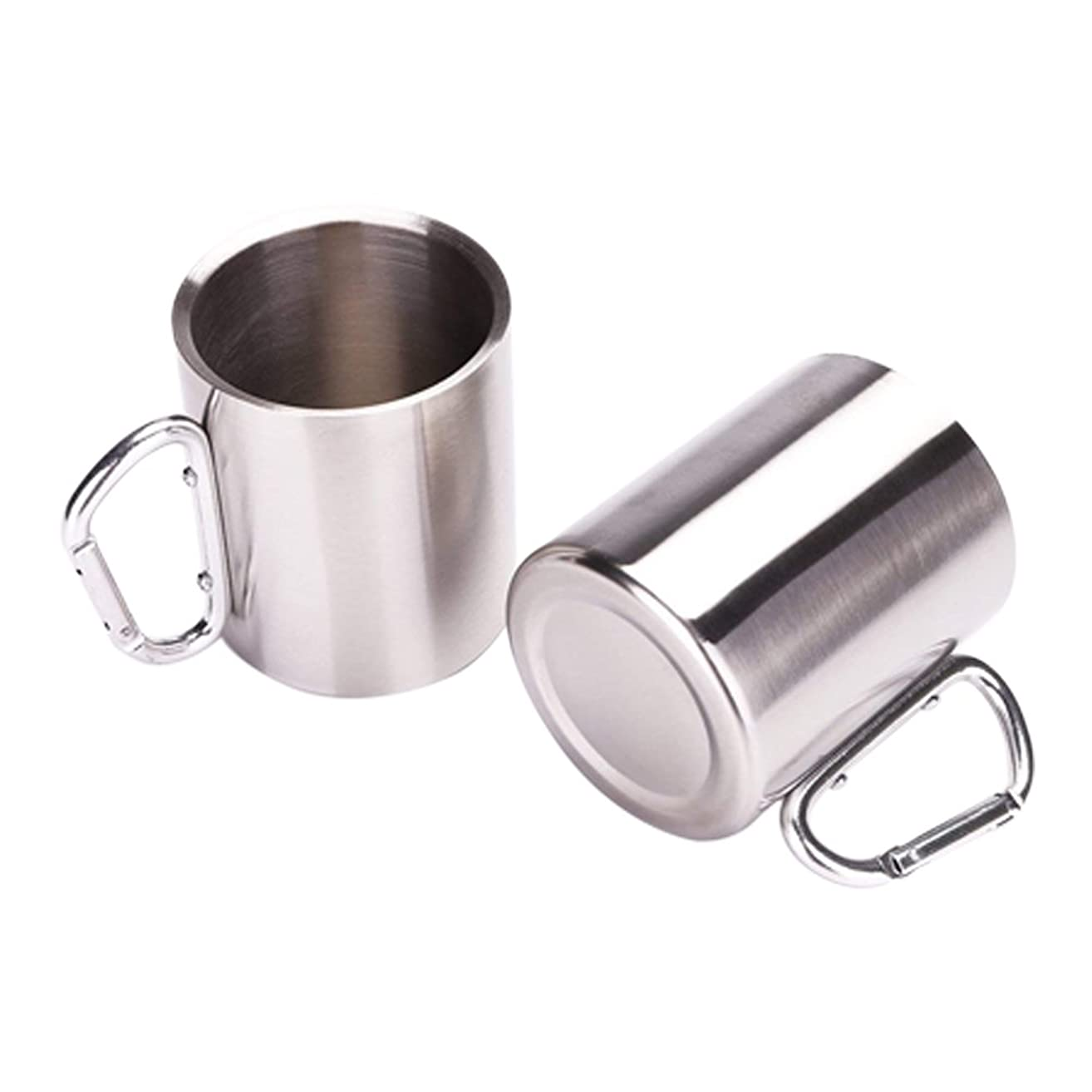 Tebery Stainless Steel Double Walled Mug with Carabiner Handle Insulation & Lightweight Large Thermal Cup For Backpacking, Camping & Hiking (2 Pack)