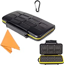 TKDY Memory Card  Holder Case 24 Slots Water-Resistant Shockproof Carrying Protector Storage Box, with Carabiner for 12 Pcs SD SDHC SDXC and 12 Micro SD Cards.