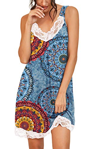 PrinStory Women's Loose Full Slips Lace Nightgown Chemise Sleepwear Cotton Jersey Lingerie US X-Large Print Flower Mix Blue