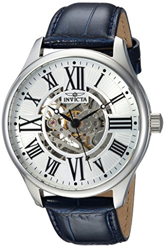 Invicta Men's Vintage Stainless Steel Automatic-self-Wind Watch with Leather Calfskin Strap, Blue, 22 (Model: 23634)