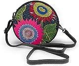 Bolso redondo mujer Women Soft Leather Zipper Round Shoulder Bags - Avant Garde Art Flowers Sling Bag
